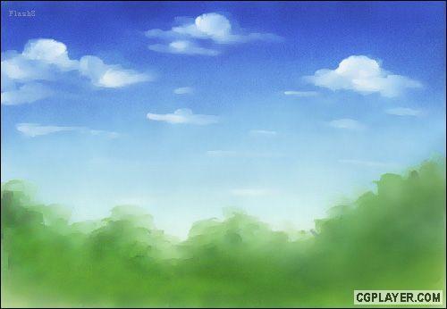 简单手绘背景绘画过程--天空